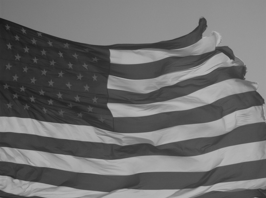 The flag in black and white