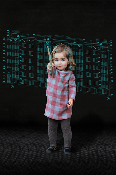 Toddler girl pointing at digital virtual house project, mixed media, futuristic