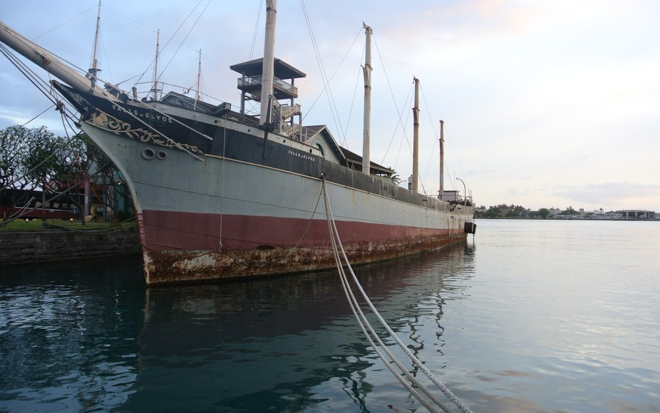 This is the Falls of Clyde ship in Honolulu Habor in Oahu, Hawaii. This beautiful ship is designa...