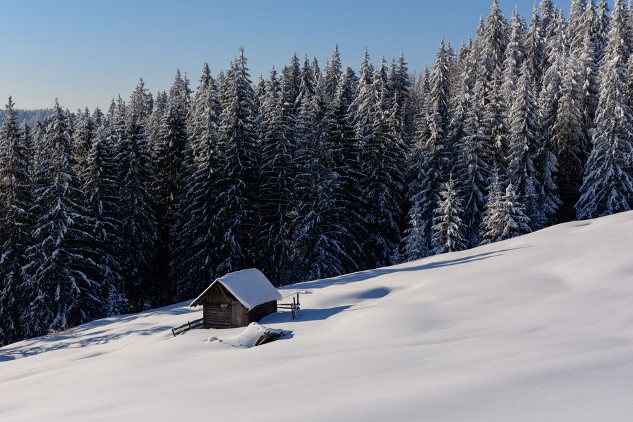 Nobody has visited this hut for some time.  Shot taken from the top of a mountain pass between Sucevita and Moldovita on a stunning morning after over night snow fall.