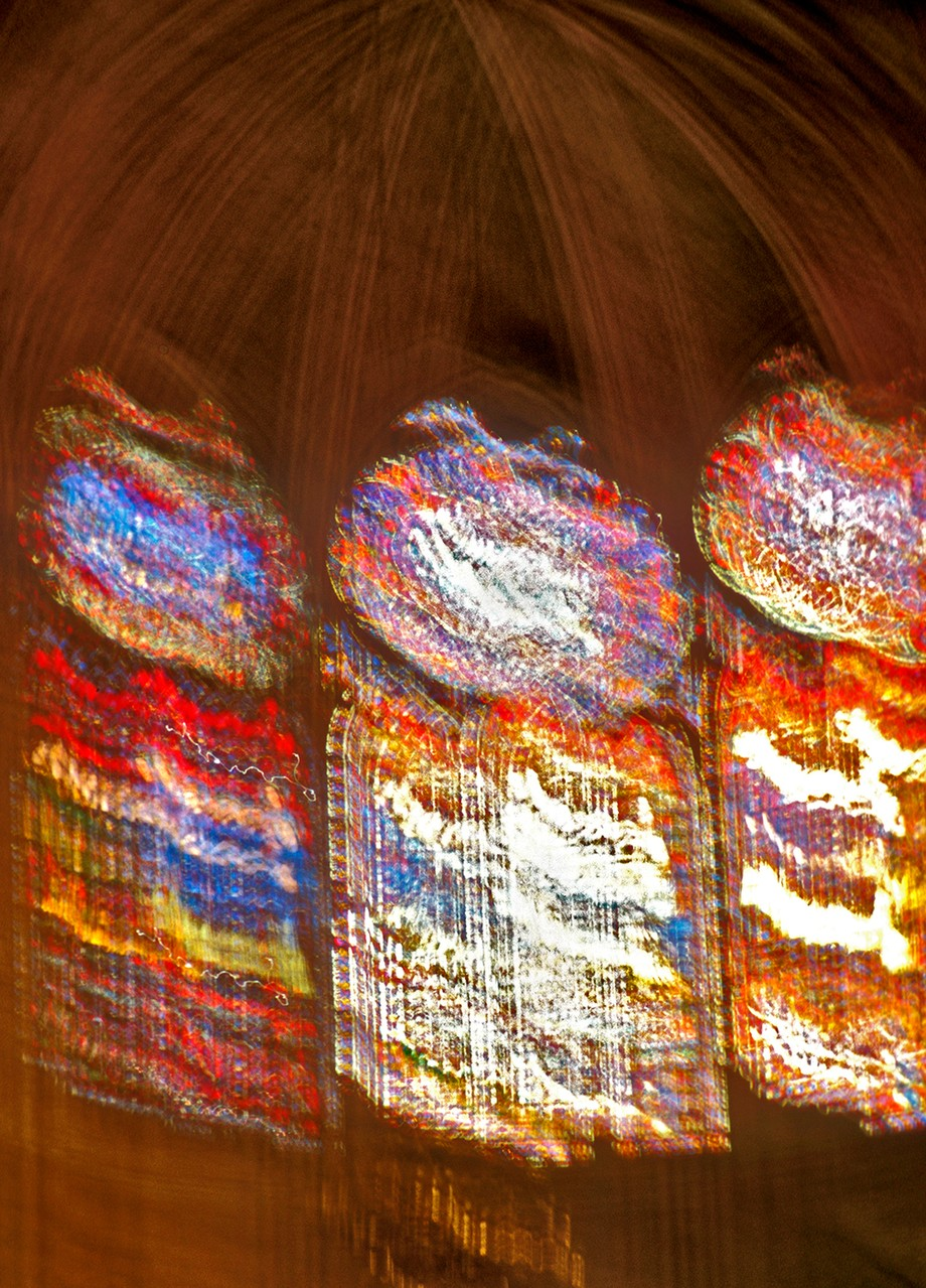 Hand held long exposure of stained glass windows in Notre Dame Cathedral, Paris.  Shot with Extrachrome 100 slide film in an Olympus OM4-T, thus no record of settings. The cathedral was quite dark in the late afternoon so I leaned the camera against a pillar and let the camera's auto-exposure do the job. The OM cameras had an amazing AE capability. This could have been a minute or longer exposure.