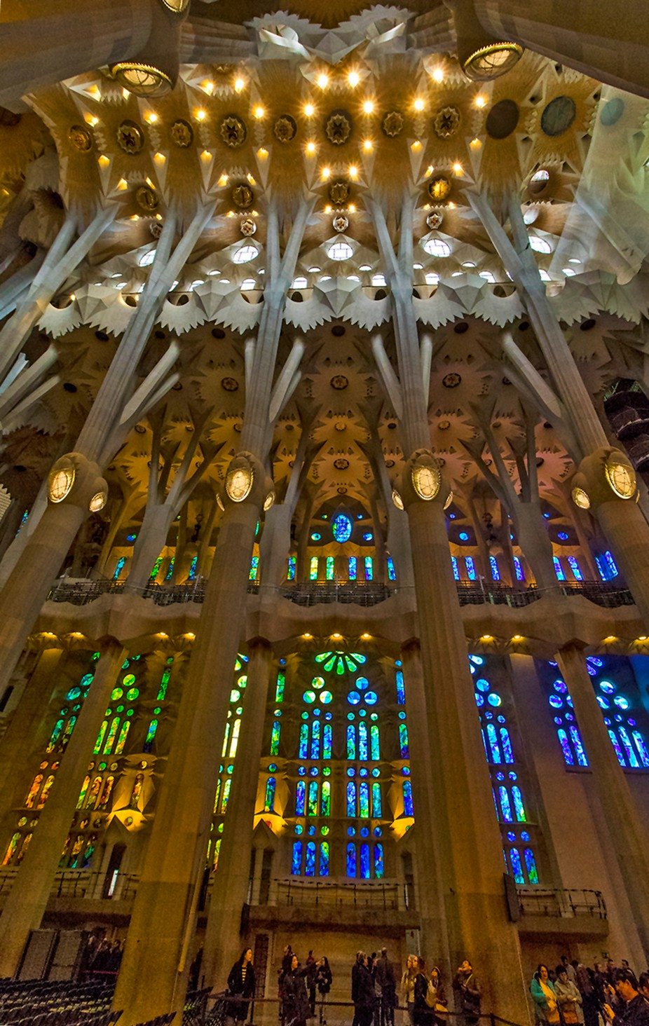 Inside Gaudi's spectacular Basilica Sagrada Familia in Barcelona, taken in December 2017. Details: Canon EOS 7D Mk II. Canon 10-18 mm lens at 10 mm. ISO 3200, f/8, 1/125 sec, -0.67 comp.