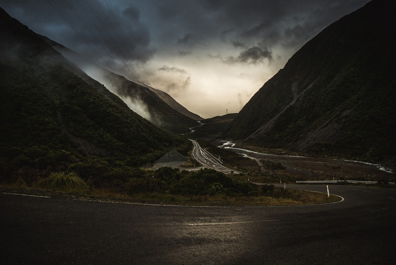 A dark witchcraft mood in Arthur's pass before rain. South island New Zealand.