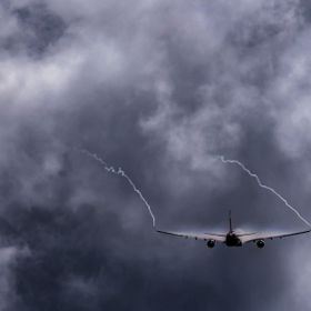 Airbus A330 towards the storm.