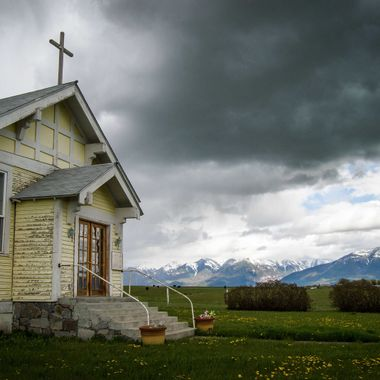 NinePipe Country Church with Mission Mtns in background