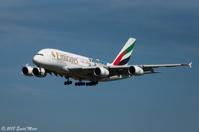 Arrival of Airbus A380 at Brussels airport
