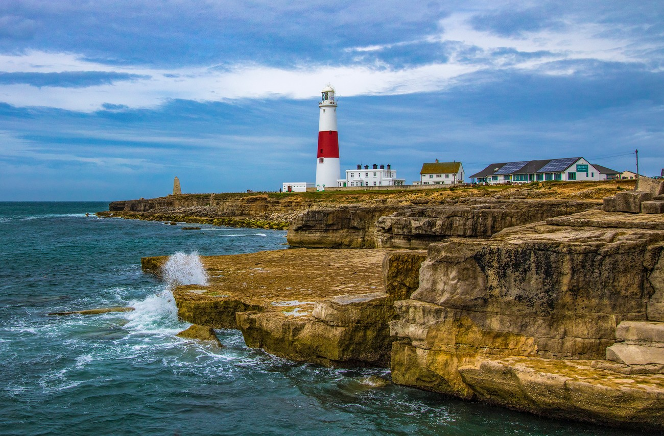 Portland Bill lighthouse on Portland island, Dorset, UK.