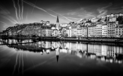 Blue Hour on the Saône at Lyon in B-W