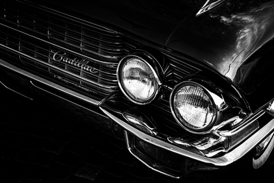 Black and white Cadillac