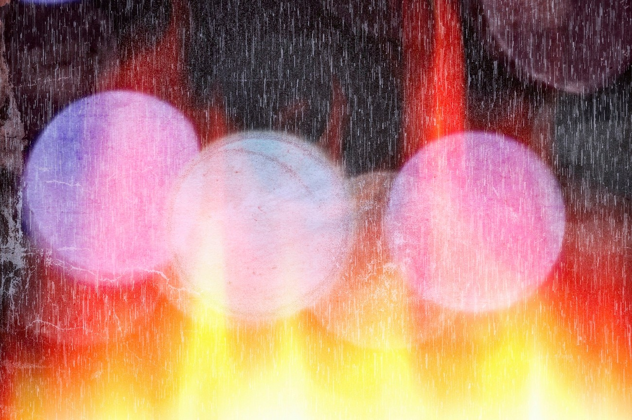 Pictures were taken of Christmas Mini Lights, adjusted into glass globes, added colors, lights, fire,and rain.