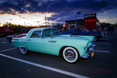 Sunset Perfect 1955 T-Bird in Thunderbird Blue RF 3-4 (3271) Wendy's Hackettstown, NJ 4-26-2018.