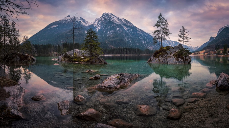 This is a panoramic image of my favorite lakes in Germany - Hintersee. I have taken the image on ...