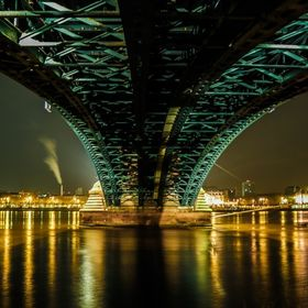 View at Mayence from under the Theodor-Heuss-Bridge at night.