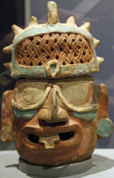 Ancient Mayan pottery work at San Diego museum display