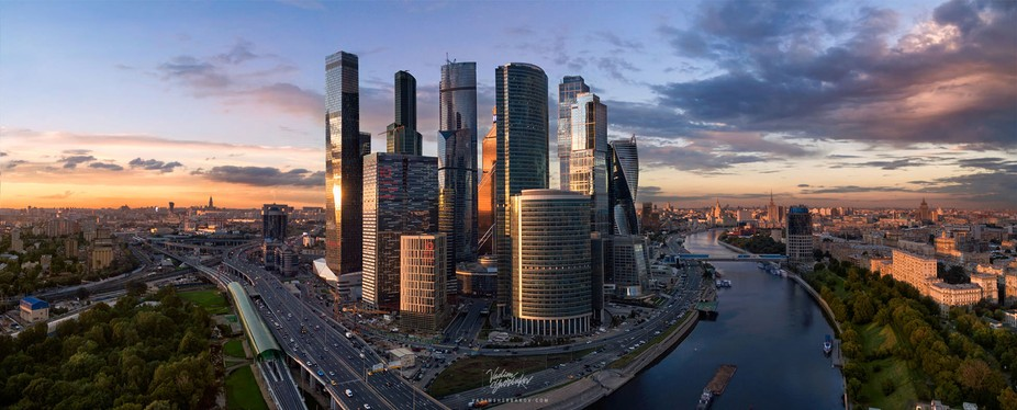 Drone panorama over Moscow City