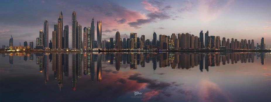 Dubai Marina Panorama at sunset