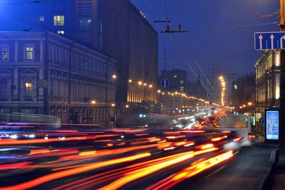 Liteyniy prospect at night. Saint Petersburg, Russia