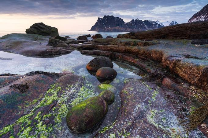 Sunset at Utakleiv by raven-black - Boulders And Rocks Photo Contest