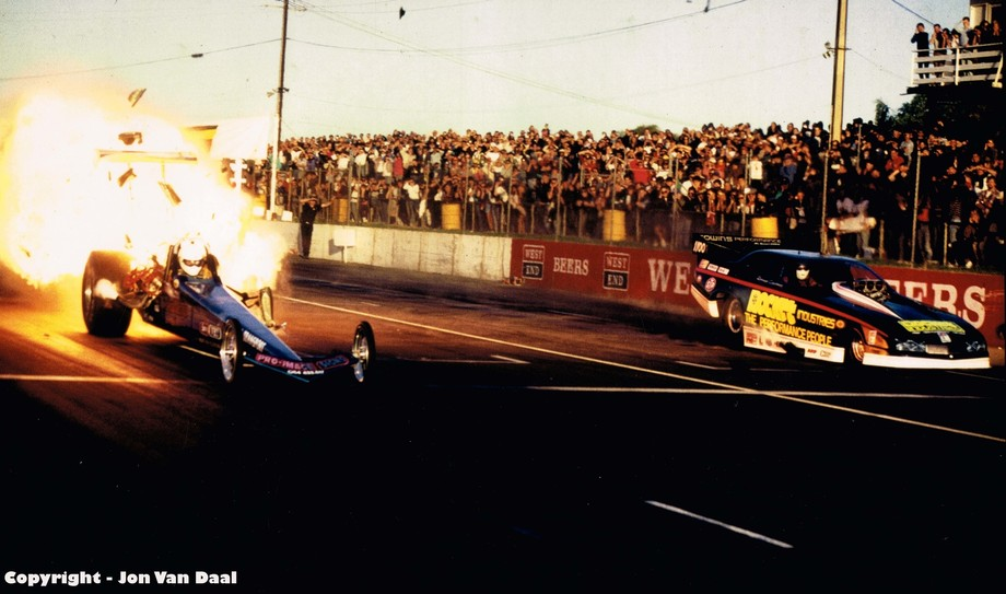The old adage motor racing is dangerous rings true here. The Top Fuel Dragster in the near lane e...