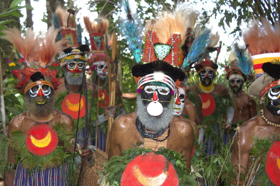 Some Tribals in customary dress from the Highlands of Papua New Guinea.