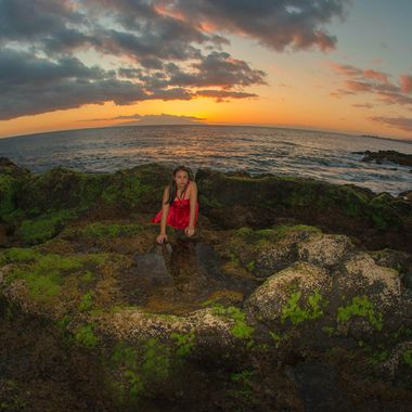 Sunset in the south of Tenerife with the island of La Gomera in the background. Using  fish eye lenses.
