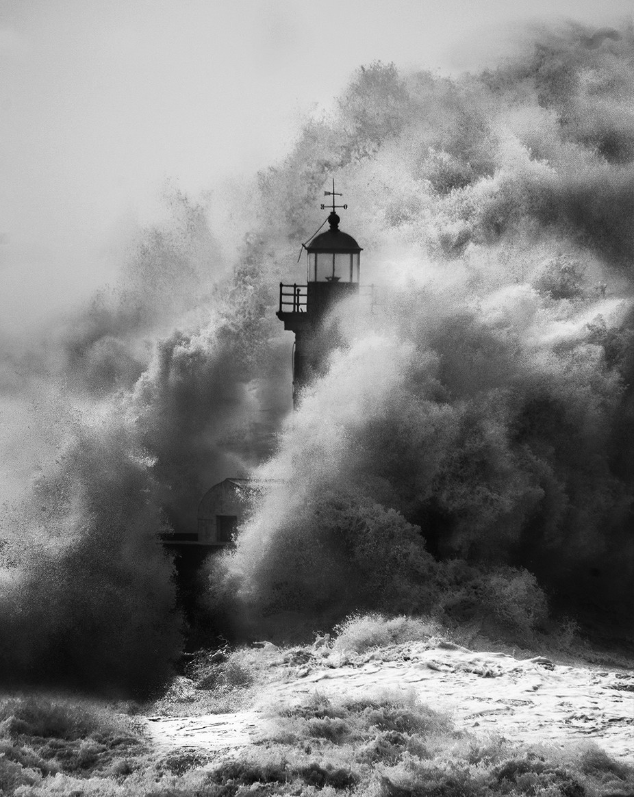 Lighthouse by joaocabral - The Water In Black And White Photo Contest