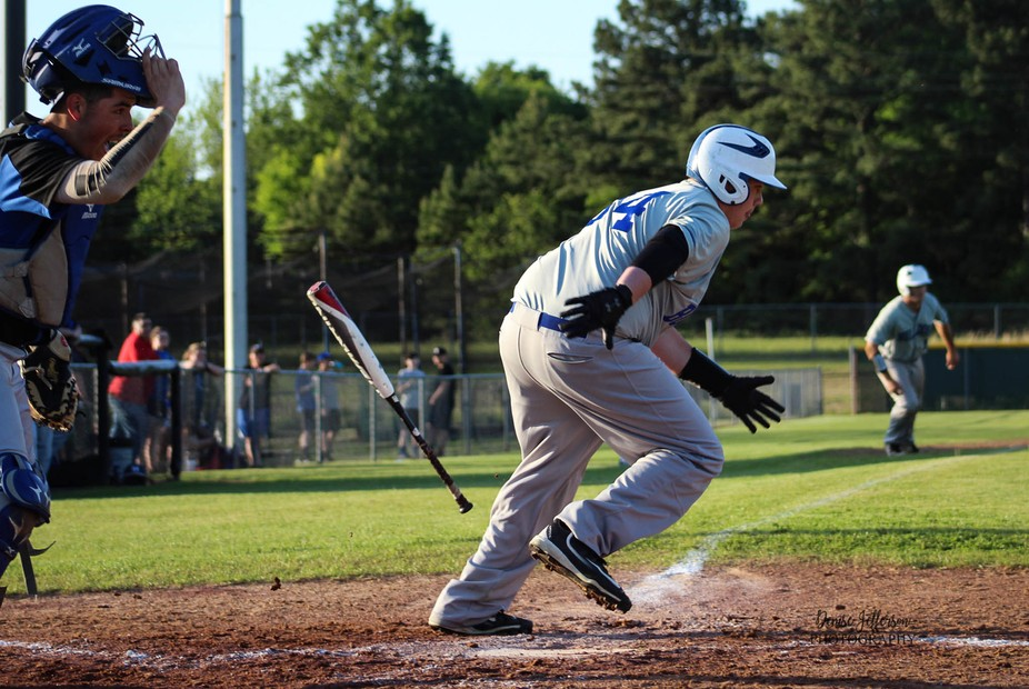 I absolutely LOVE this one.  It captures so much.  Batter leaving bat and starting his run to fir...