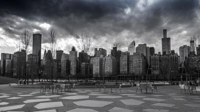 NYC on monochromatic, gloomy day