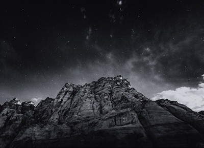 After Dark II   Waiting patiently for the full moon to rise this past Monday night. The moon was completely obscured by clouds that manifested in frame... Got this shot instead with @steadsok in Snow Canyon State Park, Utah. Black and White mod.