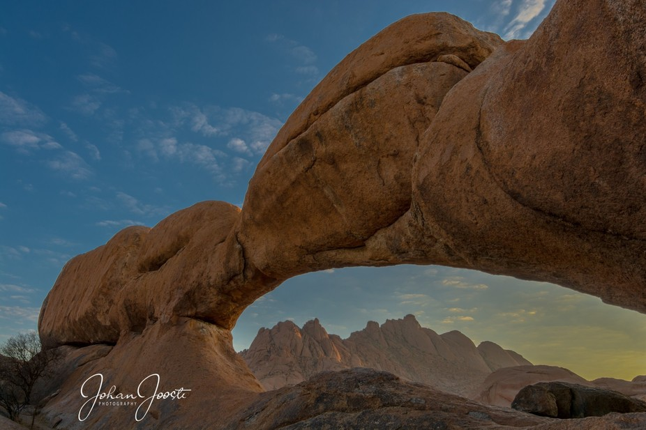 The rock arch at the Spitzkoppe mountains in Namibia is one of the sought-after areas for photogr...