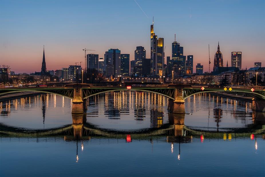 """A beautiful view of Frankfurt's famous skyline. I do like the """"Blue Hour&qu..."""