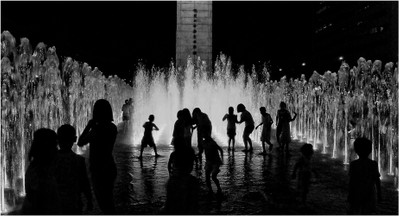 the fountains on a hot summer night