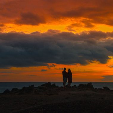 A couple watching the twilight in south Tenerife