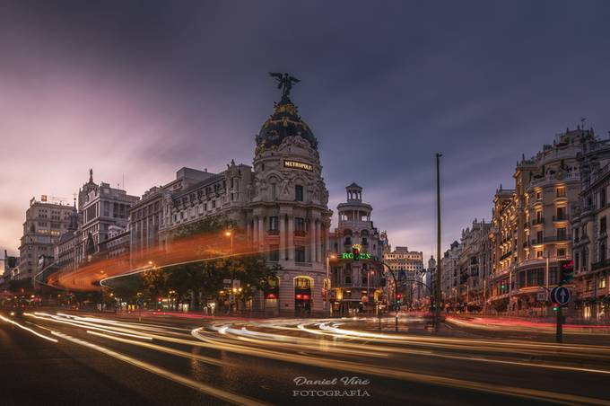Gran Via Street in Madrid, Spain, after sunset by Danielvg - Fast Photo Contest