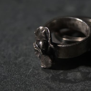 Silver Ring on Marble Plate