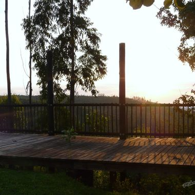 Sunrise over an incomplete timber deck