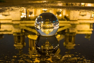 Saint Isaac's Cathedral through the glass ball