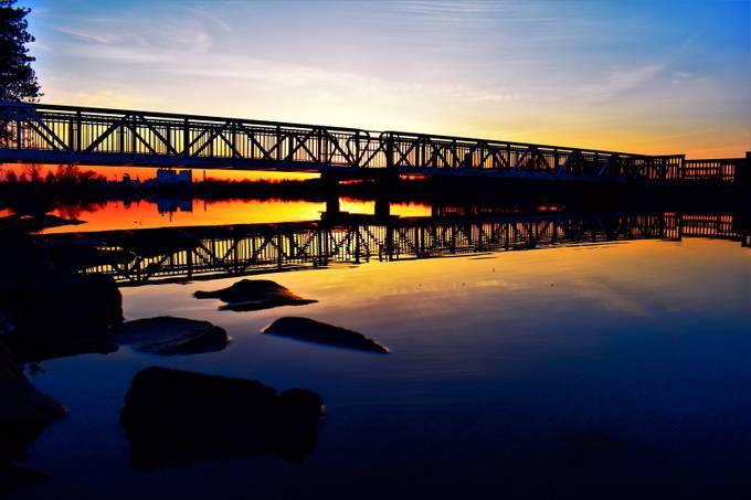 Sunset under the Voyageurs Nat'l Park Headquarters Bridge to fishing pier  Nikon D3400 Supervivid