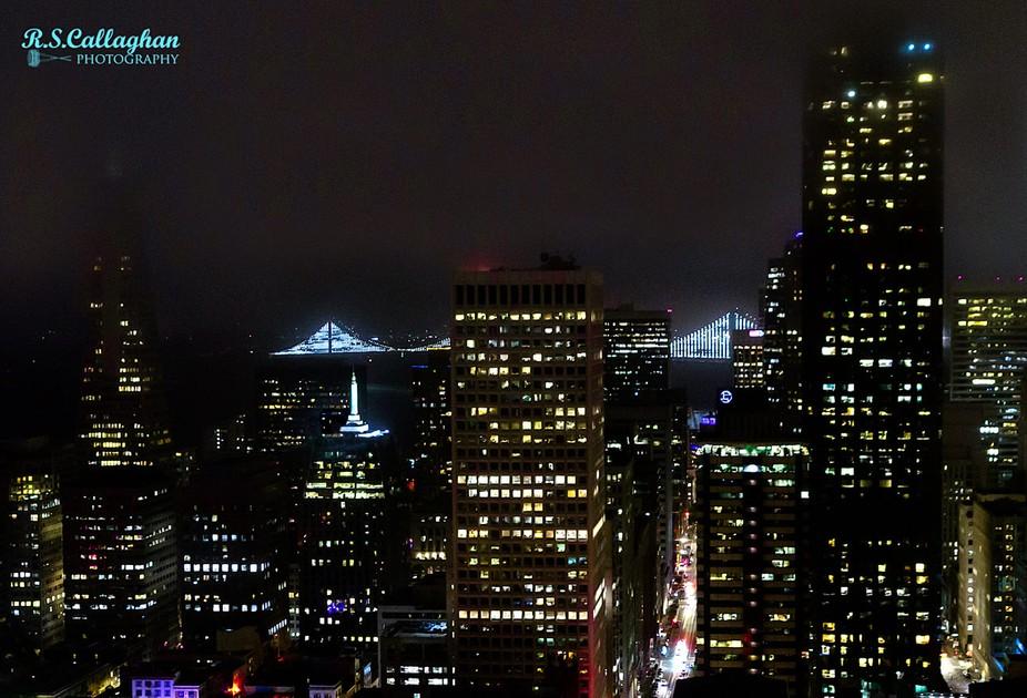 San Francisco-Oakland Bay Bridge Illuminated