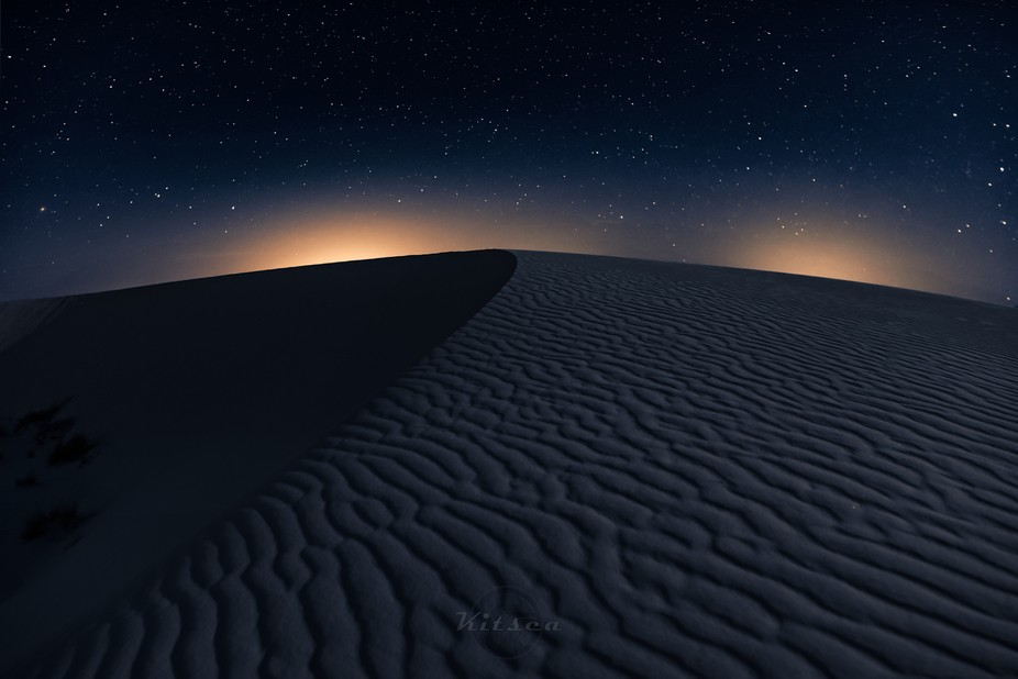 Overnight at White Sands National Monument during a lull in a spring sandstorm. Light pollution o...