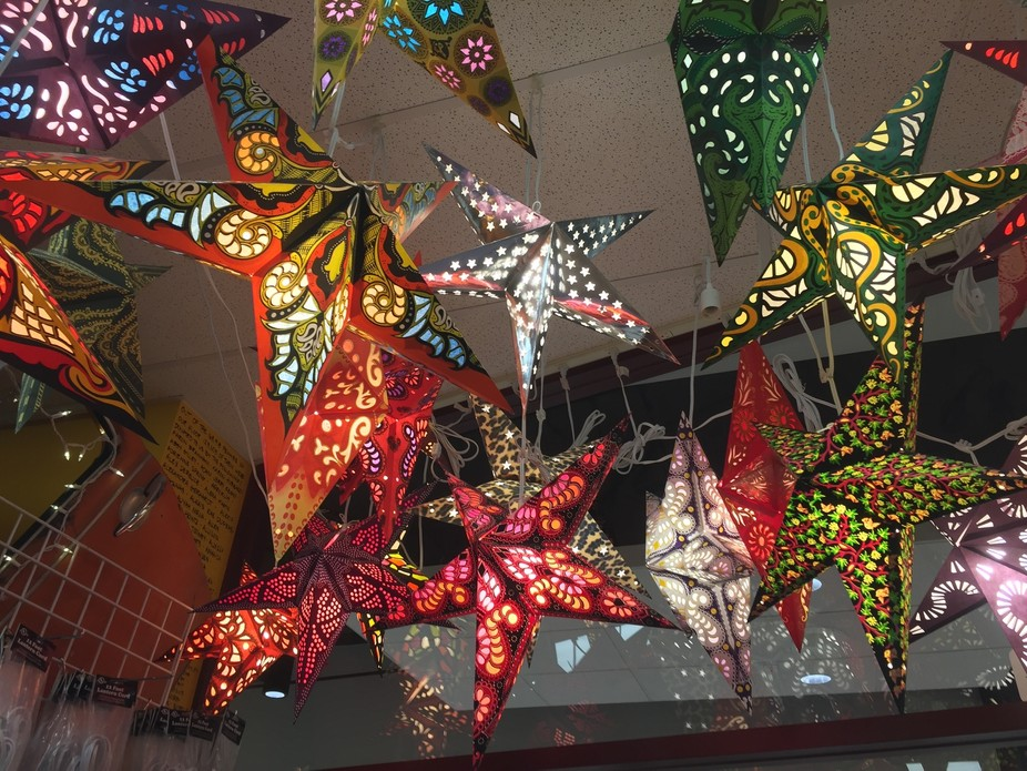 these stars hang in the entry way of a clothing store at one of our local malls.