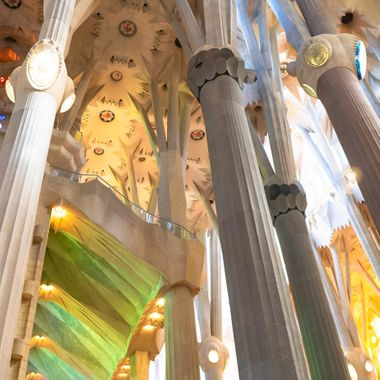 A closer look at the ceiling of La Sagrada Família in Barcelona Spain.