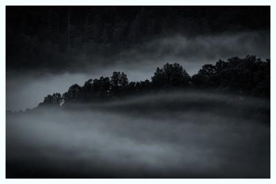 Smoky Mountains Fog B&W-1
