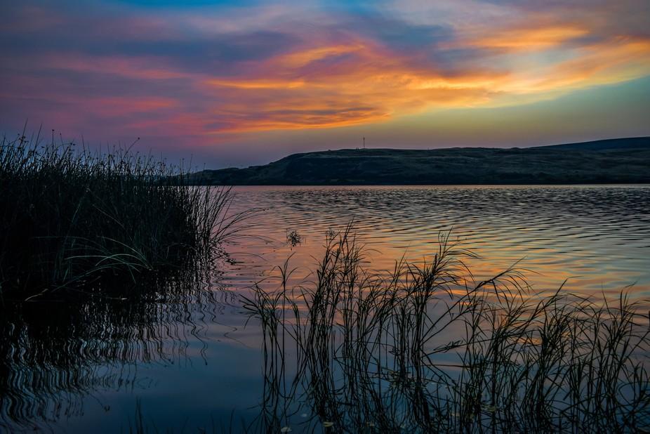 Sprague Lake, WA, Scablands, Sunset