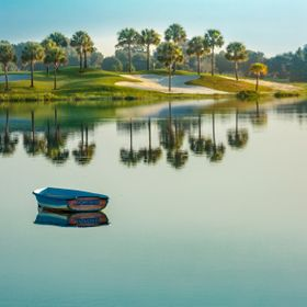 One of the many golf courses in The Villages, Florida. This hole is right on the lake at Lake Sumter Landing.