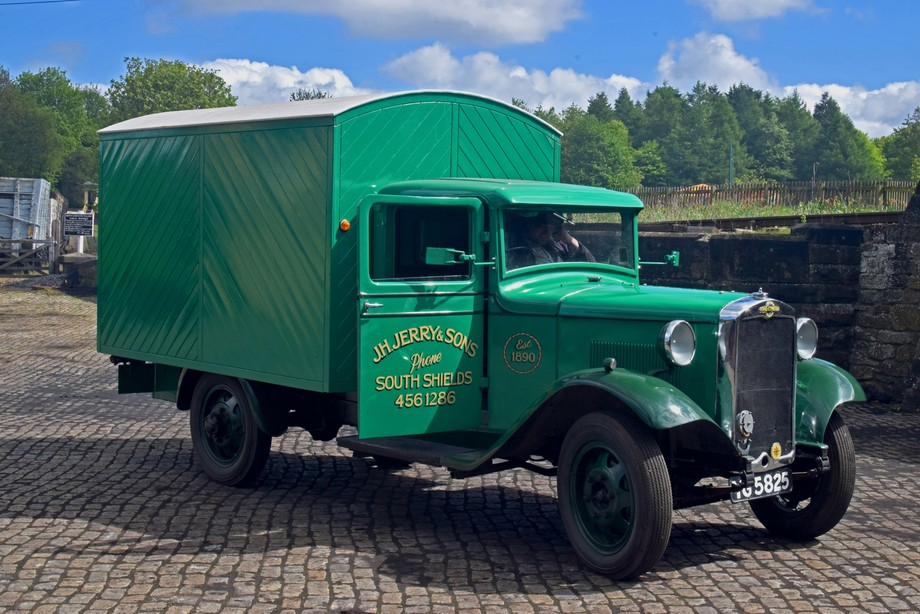 Vintage Delivery Van at goods depot Beamish museum.