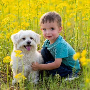 Hayden and Oscar in the field