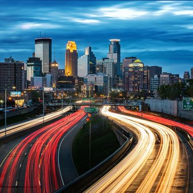 Blue hour shot of Minneapolis Downtown overlooking the I35W