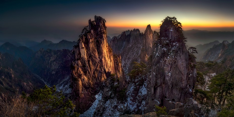Panorama shoot of Huang Shan China.