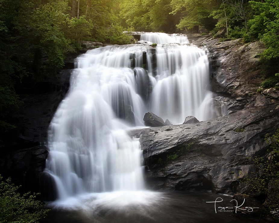 Gorgeous early morning light at Bald River Falls in Tennessee Cherokee National Forest.